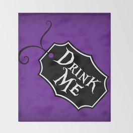 """Drink Me"" Alice in Wonderland styled Bottle Tag Design in 'Shy Violets' Throw Blanket"