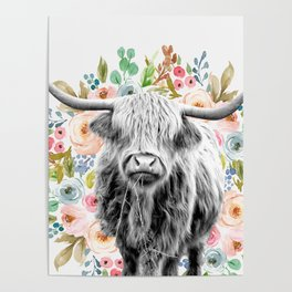 Cutest Highland Cow With Flowers Poster