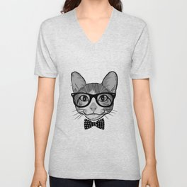 Cat Hipster With Polka Dots Bow Tie - Black White Unisex V-Neck