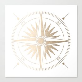 Gold on White Compass Canvas Print