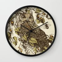 mushrooms Wall Clocks featuring Great Horned Owl by Teagan White