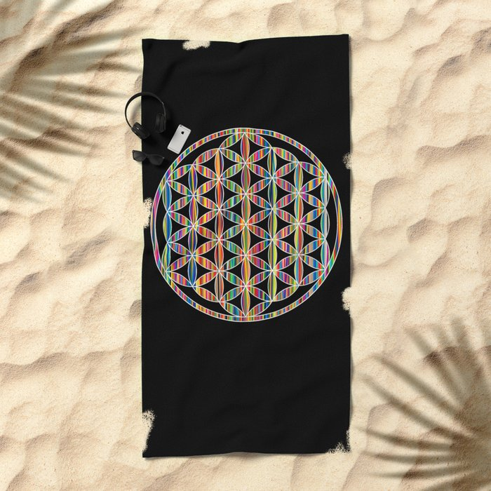 Flower of Life Colored | Kids Room | Delight Beach Towel