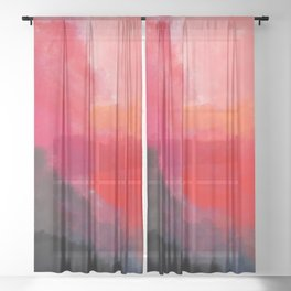 Red, Black and Yellow Mosaic Sheer Curtain