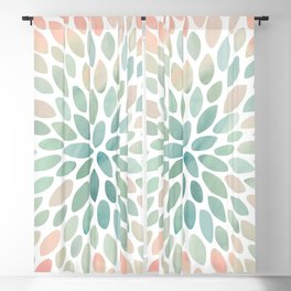 Floral Bloom, Abstract Watercolor, Coral, Peach, Green, Floral Prints Blackout Curtain