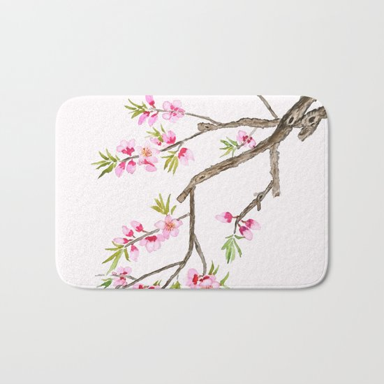 pink peach flowers Bath Mat