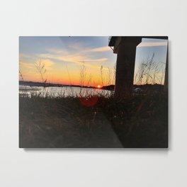 Spring Sunset Behind the Casco Bay Bridge Metal Print