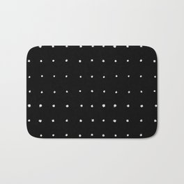 Dot Grid White on Black Bath Mat
