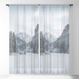 Mountains and frozen lake Zgornje Jezersko Sheer Curtain