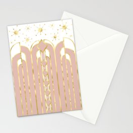 Art Deco Geometric Architectural Shapes and Stars in Blush Pink and Yellow Gold Stationery Cards