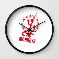 planet of the apes Wall Clocks featuring Twelve Apes by FunnyFaceArt