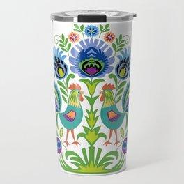 Polish Folk Design Two Roosters Travel Mug