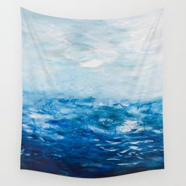 Paint 10 abstract water ocean seascape modern painting dorm room decor affordable stretched canvas Wall Tapestry