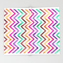 Chevron Multicolor Watercolor Throw Blanket