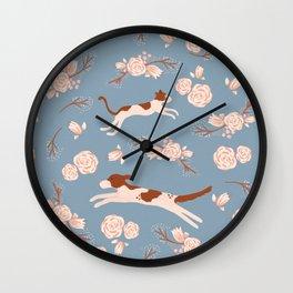 Baby Blue and Blush Dog Cat Floral Pattern by Caroline Ruiz Illustration Wall Clock