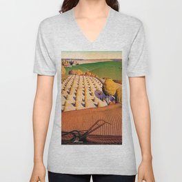 Classical Masterpiece 'Fall Plowing' by Grant Wood Unisex V-Neck