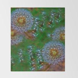 Golden dandelion seeds  Throw Blanket