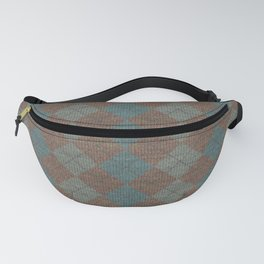 Dark Blue Brown Checkered Knitted Weaving Fanny Pack
