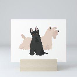 Scottish Terrier Black White Hunting Dog Mini Art Print
