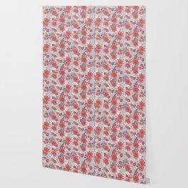 Crimson and Silver Floral Wallpaper
