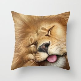 Sleeping Lion - closeup Throw Pillow