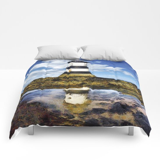 Penmon Lighthouse Painting Comforters