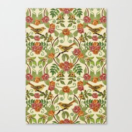 Yellow Bird Pattern w/ Pink & Orange Roses, Green Leaves & Ferns Canvas Print