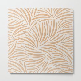 Abstract Neutral Leaf Shapes / Sand and Ivory Pattern Metal Print