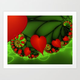 Dancing Red Hearts Fractal Art Art Print