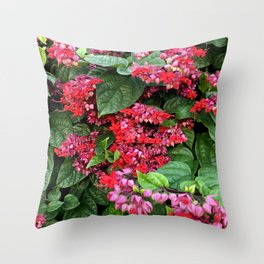 mixed flowers and leaves Throw Pillow