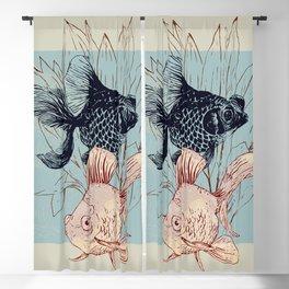 Telescope and golden fish aquarium Blackout Curtain