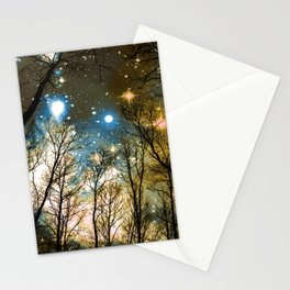 Black Trees Blue Olive Brown Space Stationery Cards