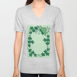 Abstract grapevine with frame from leaves Unisex V-Neck