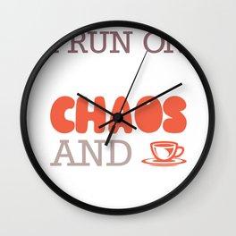 I Run On Caffeine Chaos and Ketones Keto Fitness Gym Gift graphic Wall Clock
