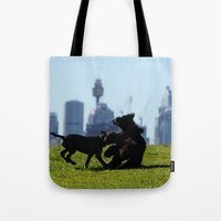 teen titans Tote Bags featuring Clash of the Titans by Lucas Brown