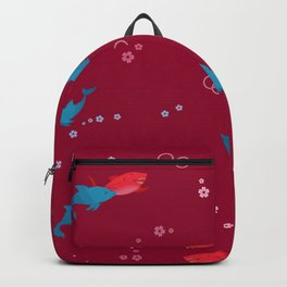 Red Shark and Dolphin Backpack