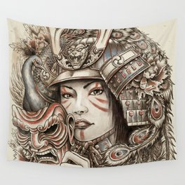 Peacock Samurai Wall Tapestry