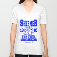 breakfast club V-neck T-shirts featuring The Breakfast Club  |  Shermer High School Logo  |  John Hughes Universe by Silvio Ledbetter