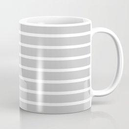 Light Grey and White Horizontal Stripes Pattern Coffee Mug