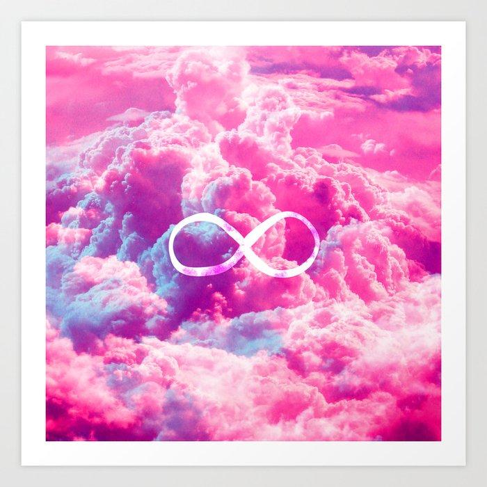 Girly Infinity Symbol Bright Pink Clouds Sky Art Print