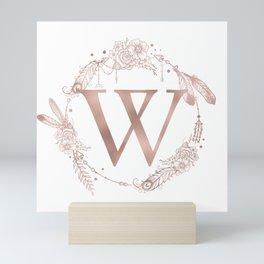 Letter W Rose Gold Pink Initial Monogram Mini Art Print