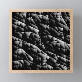 Toned pattern of chaotic black and white glass fragments, irregular cubic figures and ice floes. Framed Mini Art Print