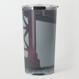 Surfers under Golden Gate Bridge Travel Mug