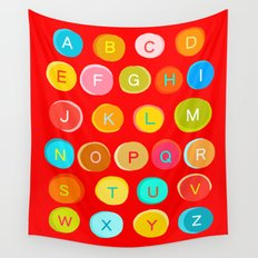 Red Alphabet Wall Tapestry