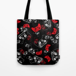 Video Game Red on Black Tote Bag
