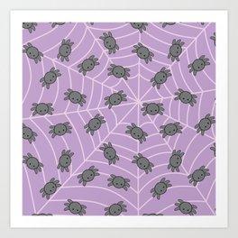Pastel goth kawaii spiders purple Art Print