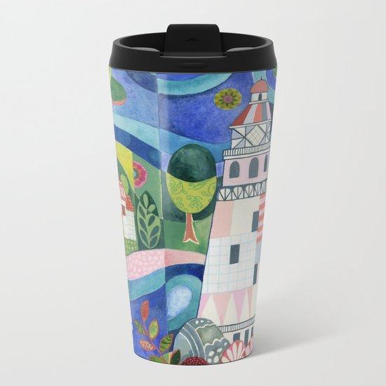 Island Lighthouse Metal Travel Mug