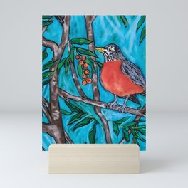 Robin Redbreast in the Mountain Ash Mini Art Print