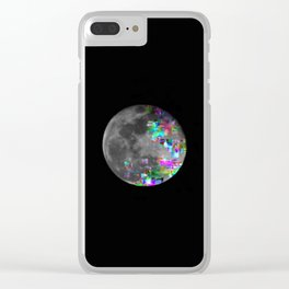 Moon Glitch Clear iPhone Case