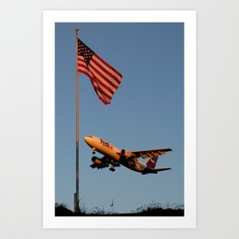 FedEx A300 and American Flag Art Print