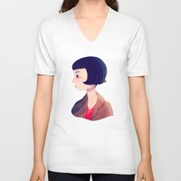 amelie V-neck T-shirts featuring Amelie by Nan Lawson